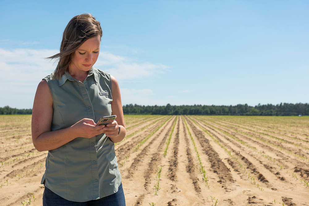 """Casey Cox using her smartphone to control the irrigation system on her farm in Camilla, Georgia. This is part of an innovative technology called """"variable rate irrigation"""" or VRI, which tailors water application to field conditions."""