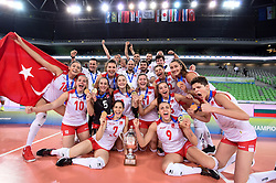 Players of Turkey celebrate gold medal after the volleyball match between National team of Turkey and Slovenia in Gold Medal game of Womens U23 World Championship 2017, on September 17, 2017 in SRC Stozice, Ljubljana, Slovenia. Photo by Morgan Kristan / Sportida