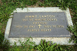 31 August 2017:   Veterans graves in Park Hill Cemetery in eastern McLean County.<br /> <br /> Jimmy Lawson  Sergeant US Marine Corps  Vietnam  Nov 20 1947  Nov 30 1998  Purple Heart