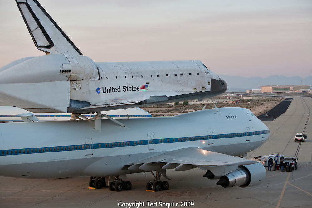 The Space Shuttle Atlantis on back of a specially designed 747-100. The 747 will ferry the shuttle back to the Kennedy Space Center in Florida..Edwards Air Force Base,Dreyden Flight Research Center..