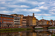 Florence on the river Arno and the Ponte Santa Trinita.
