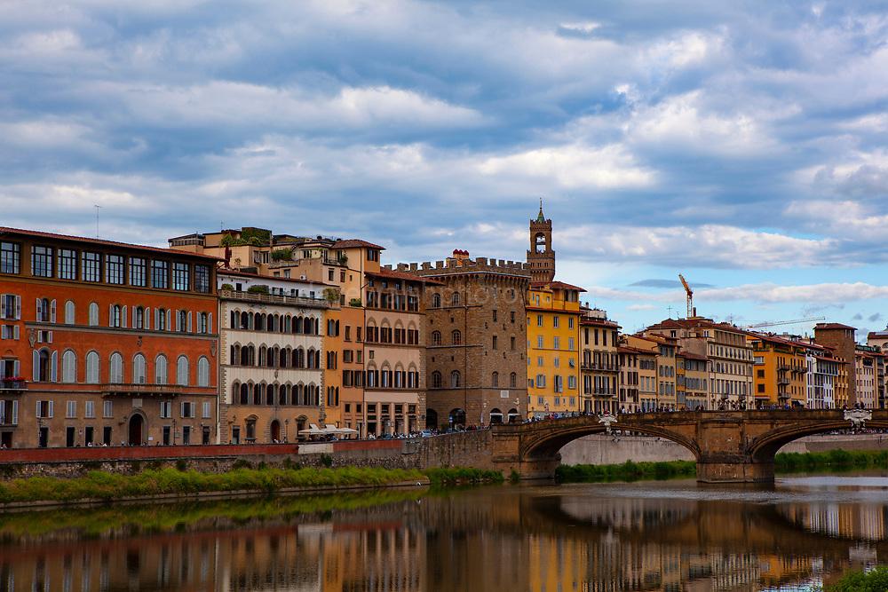 Florence on the river Arno and the Ponte Santa Trinita.