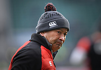 LONDON, ENGLAND - MARCH 17: England's Head Coach Eddie Jones during the pre match warm up before the NatWest Six Nations Championship match between England and Ireland at Twickenham Stadium on March 17, 2018 in London, England. (Photo by Ashley Western - MB Media via Getty Images)