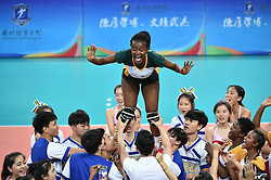 GUANGZHOU, June 20, 2017  Mpolokeng Malega (Top) of South Africa is lifted by volunteers after the women's volleyball match against China at 2017 BRICS Games in Guangzhou, south China's Guangdong Province, June 20, 2017. (Credit Image: © Liang Xu/Xinhua via ZUMA Wire)
