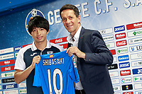 Getafe's new player Gaku Shibasaki (l) with the General Manager Ramon Planes during his official presentation.  July 21, 2017. (ALTERPHOTOS/Acero)