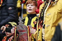 A Watford fan with a tin foil FA CUP trophy - Mandatory by-line: Arron Gent/JMP - 07/04/2019 - FOOTBALL - Wembley Stadium - London, England - Watford v Wolverhampton Wanderers - Emirates FA Cup Semi Final