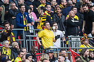 Watford FC supporters on the drums during the FA Cup semi-final match between Watford and Wolverhampton Wanderers at Wembley Stadium in London, England on 7 April 2019.