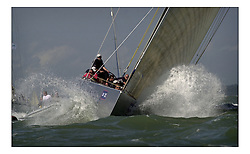 Team GBR at the start of the Round the Island race part of the America's Cup Jubilee...Marc Turner / PFM.