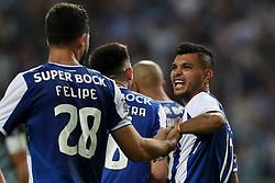 April 23, 2018 - Porto, Porto, Portugal - Porto's Mexican forward Jesus Corona celebrates after scoring a goal during the Premier League 2016/17 match between FC Porto and Vitoria FC, at Dragao Stadium in Porto on April 23, 2018. (Credit Image: © Dpi/NurPhoto via ZUMA Press)