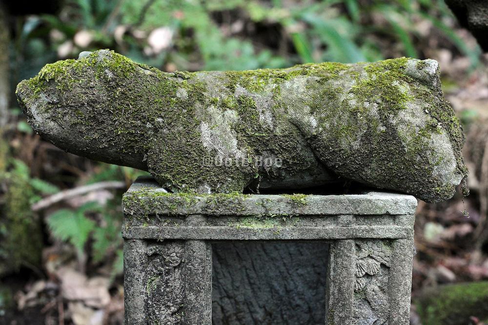 with moss covered old animal sculpture at the Sasuke Inari shrine in Kamakura Japan