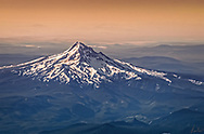 A view of Mt. Hood from the air at sunrise.