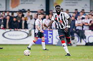 Ayo Obileye of Maidenhead United in action during the The FA Cup 1st round match between Maidenhead United and Portsmouth at York Road, Maidenhead, United Kingdom on 10 November 2018.