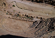 """View from above of the 3000-seat theatre from the early 1st century AD in Petra, which was recently named one of the """"Seven Modern Wonders of the World"""" - Jordan."""