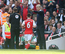 21 May 2017 London : Premier League - Arsenal v Everton :<br /> Arsenal manager Arsene Wenger makes adjustments to his team after the red card for captain Laurent Koscielny.<br /> Photo: Mark Leech