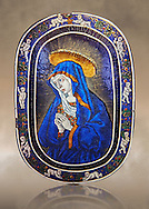 Enamelled plaque of Louis 12th known as the Sorrowful Virgin made in Limoge around 1500. inv 11170, The Louvre Museum, Paris. .<br /> <br /> If you prefer you can also buy from our ALAMY PHOTO LIBRARY  Collection visit : https://www.alamy.com/portfolio/paul-williams-funkystock/limoges-enamel-antiquities.html Type -     louvre     - into the LOWER SEARCH WITHIN GALLERY box. <br /> <br /> Visit our MEDIEVAL ART PHOTO COLLECTIONS for more   photos  to download or buy as prints https://funkystock.photoshelter.com/gallery-collection/Medieval-Gothic-Art-Antiquities-Historic-Sites-Pictures-Images-of/C0000gZ8POl_DCqE