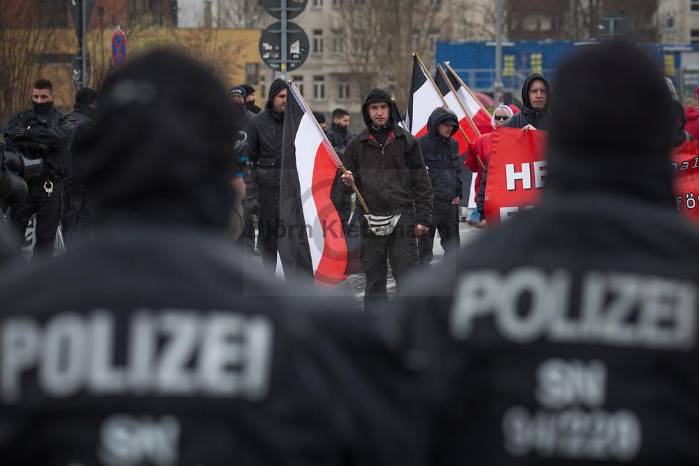 """Leipzig, Germany - 18.03.2017<br /> <br /> Neo nazi march of the far right party """"die Rechte"""" in Leipzig with about 120 participants.<br /> <br /> Neonazi-Aufmarsch der Partei """"Die Rechte"""" in Leipzig mit etwa 120 Teilnehmern. <br /> <br /> Photo: Bjoern Kietzmann"""