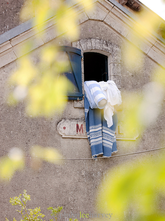 Clothes and sheets left to aerate, Dordogne, France