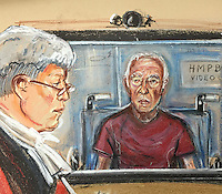 """Elder statesman of the gang, """"guvner"""" Brian Reader  is sentenced via Video link into Woolwich Crown Court. He sits in a prison issue wheelchair since having a stroke while in custody"""