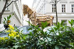 21.11.2014, Wieden, Wien, AUT, Greenpeace-Aktion zu TTIP: Trojanisches Pferd zieht durch Wien, im Bild Trojanisches Pferd // during protest action of Greenpeace with Trojan Horse against TTIP in Vienna, Austria on 2014/11/21, EXPA Pictures © 2014, PhotoCredit: EXPA/ Michael Gruber