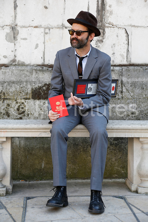 London, UK. Thursday 24th July 2014. EELS frontman Mark Oliver Everett at the Guildhall  after being honoured with one of the most prestigious and long standing accolades in London's history, the Freedom of the City of London. EELS have played London many times since their 1996 inception, and The Freedom of the City of London is one of the oldest surviving traditional ceremonies still in existence today, the first Freedom believed to have been presented in 1237. Only in 1996 did it become possible for non British or Commonwealth citizens to be admitted. Other musicians have received the honour however E is the first singer of a contemporary rock band to receive this award.