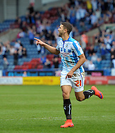 Nahki Wells (21) of Huddersfield Town celebrates his goal against Ipswich Town during the Sky Bet Championship match at the John Smiths Stadium, Huddersfield<br /> Picture by Graham Crowther/Focus Images Ltd +44 7763 140036<br /> 06/04/2015