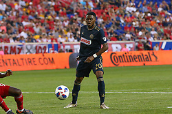 May 26, 2018 - Harrison, NJ, U.S. - HARRISON, NJ - MAY 26:  Philadelphia Union midfielder Marcus Epps (20) controls the ball during the first half of the Major League Soccer Game between the New York Red Bulls and the Philadelphia Union on May 26, 2018, at Red Bull Arena in Harrison, NJ.  (Photo by Rich Graessle/Icon Sportswire) (Credit Image: © Rich Graessle/Icon SMI via ZUMA Press)