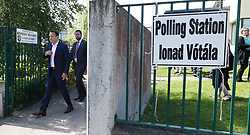 Taoiseach Leo Varadkar leaving Scoil Thomas, Castlenock Dublin, as the country goes to the polls to vote in the referendum on the 8th Amendment of the Irish Constitution.