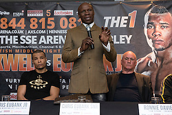 © Licensed to London News Pictures. 24/03/2016. CHRIS EUBANK JR, CHRIS EUBANK and trainer RONNIE DAVIES attend a press conference for their fight against CHRIS BLACKWELL at SSE Arena Wembley on Saturday 26th March 2016. London, UK. Photo credit: Ray Tang/LNP