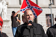 Harrisburg, PA -- Jeff Schoep of the National Socialist Movement (NSM) speaks at a 2016 rally of white supremacists at the Pennsylvania State Capitol.