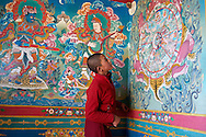 A young nun of Tsoknyi Gechak Ling is looking at the entrance paintings of the gompa.