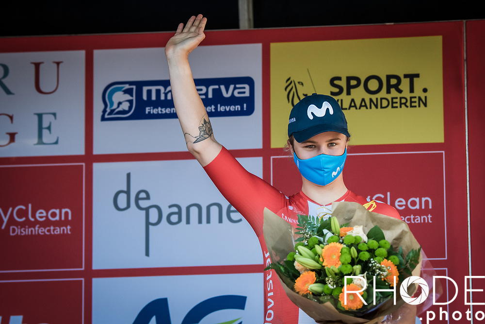 podium with 2nd place finisher Emma Cecilie Norsgaard (DEN/Movistar) Oxyclean Classic Brugge-De Panne 2021 (WE/1.WWT) - Belgium<br /> 1 day race from Brugge to De Panne (159km)<br /> <br /> ©RhodePhoto