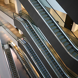 Many escalators inside Dortmunder U cultural centre in Dortmund in Germany
