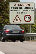 Lynx warning traffic signs<br /> Sierra de Andújar Natural Park, Mediterranean woodland of Sierra Morena, north east Jaén Province, Andalusia. SPAIN<br /> <br /> Mission: Iberian Lynx, May 2009<br /> © Pete Oxford / Wild Wonders of Europe<br /> Zaldumbide #506 y Toledo<br /> La Floresta, Quito. ECUADOR<br /> South America<br /> Tel: 593-2-2226958<br /> e-mail: pete@peteoxford.com<br /> www.peteoxford.com