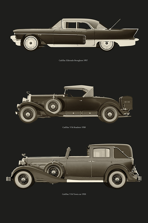 Cadillac is the most prestigious car brand in the U.S.A. Here are some of their most legendary models. The Cadillac Eldorado, the Cadillac V16 Roadster and the Cadillac V16 Town Car. –<br /> -<br /> BUY THIS PRINT AT<br /> <br /> FINE ART AMERICA / PIXELS<br /> ENGLISH<br /> https://janke.pixels.com/featured/cadillac-legendary-models-jan-keteleer.html<br /> <br /> <br /> WADM / OH MY PRINTS<br /> DUTCH / FRENCH / GERMAN<br /> https://www.werkaandemuur.nl/nl/shopwerk/Cadillac-legendarische-modellen/798226/132?mediumId=1&size=50x75<br /> –<br /> -