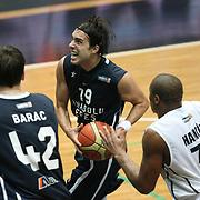 Anadolu Efes's Sasha Vujacıc (C) during their Turkish Basketball league derby match Besiktas between Anadolu Efes at the BJK Akatlar Arena in Istanbul Turkey on Saturday 31 December 2011. Photo by TURKPIX