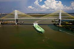 BW Leo oil tanker passing under Fred Hartman Bridge in Port of Houston.