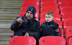 Tottenham Hotspurs' fans in the stands prior to the match
