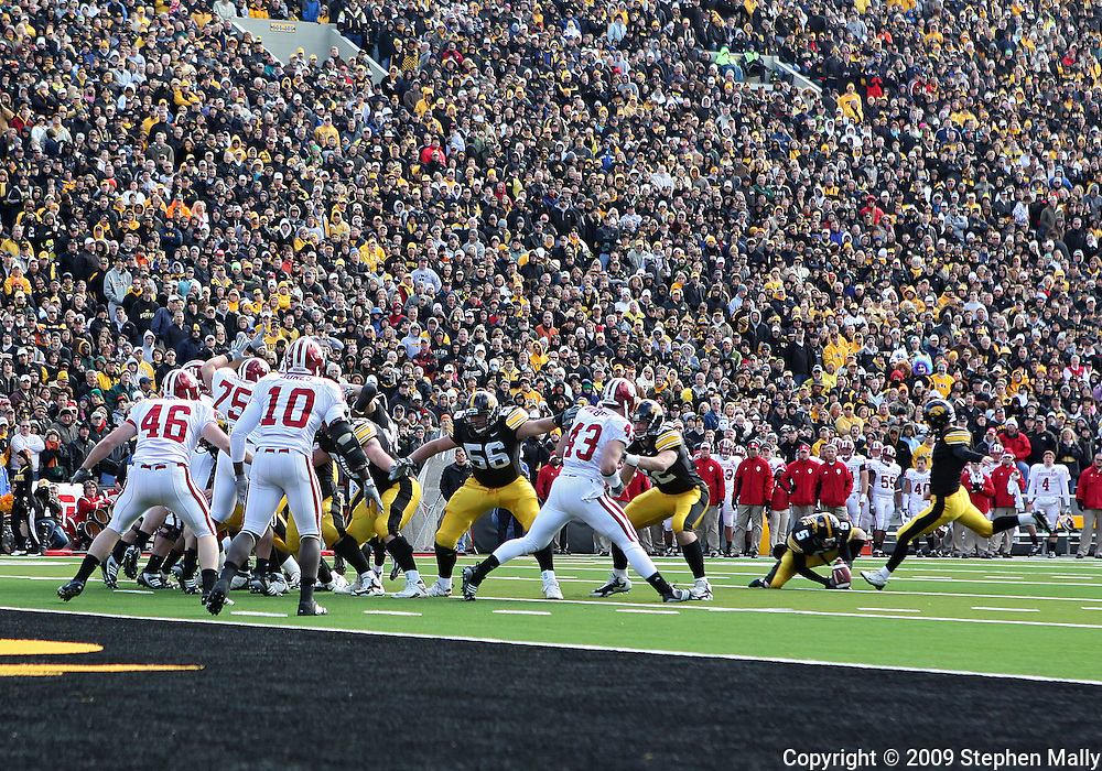 October 31, 2009: Iowa kicker Daniel Murray (1) kicks an extra point during the first half of the Iowa Hawkeyes' 42-24 win over the Indiana Hoosiers at Kinnick Stadium in Iowa City, Iowa on October 31, 2009.