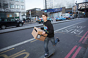 Petition to save the South Bank Undercroft is taken by skateboarders to Lambeth Council. Earlier a Long Live South Bank event was held prior to the petition to save the site, signed by 23,000 people (in 16 boxes seen here) was taken to Lambeth Council. The Undercroft on the South Bank has been popular with skateboarders since the early 70's and is widely acknowledged to be London's most distinctive and popular skateboarding area. The area is used by skateboarders, BMXers, graffiti artists, taggers, photographers, and others. It is proposed that the area be redeveloped for retail spaces.
