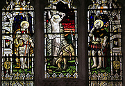 First world war memorial stained glass window, Church of Saint Mary, Mendlesham, Suffolk, England, UK