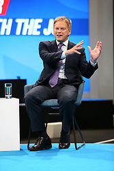 © Licensed to London News Pictures. 04/10/2021. Manchester, UK.  Secretary of State for Transport Grant Shapps is interviewed by Iain Dale at the Conservative Party Conference on Monday. The annual Conservative Party Conference has returned to Manchester this year after being held online in 2020. Photo credit: Adam Vaughan/LNP