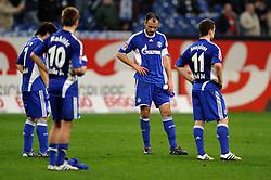 03.04.2010, VELTINS Arena, Gelsenkirchen, GER, 1. FBL, FC Schalke 04 vs. FC Bayern Muenchen, 29. Spieltag, im Bild Enttaeuschung Schalke nach der Niederlage: Hao Hunmin (Schalke 04 #7), Ivan Rakitic (Schalke 04 #10), Heiko Westermann (Schalke 04 #2), Alexander Baumjohann (Schalke 04 #11). EXPA Pictures © 2010, PhotoCredit: EXPA/ nph/  Conny Kurth / SPORTIDA PHOTO AGENCY