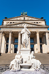 View of Konzerthaus and Schiller statue  in Gendarmenmarkt square in Berlin Germany