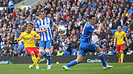 Watford Matej Vydra shoots at goal during the Sky Bet Championship match between Brighton and Hove Albion and Watford at the American Express Community Stadium, Brighton and Hove, England on 25 April 2015. Photo by Phil Duncan.