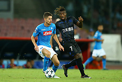 August 16, 2017 - Naples, Campania, Italy - Jorginho of Napoli and Allan Saint-Maximin of Nice  during the UEFA Champions League Play Off first leg football match SSC Napoli vs OCG Nice, on August 16 2017 at the San Paolo Stadium. (Credit Image: © Matteo Ciambelli/NurPhoto via ZUMA Press)