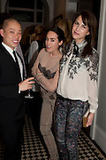 JASON WU; TALLULAH HARLECH; CAROLINE SIEBER, Party hosted for Jason Wu by Plum Sykes and Christine Al-Bader. Ladbroke Grove. London. 22 March 2011. -DO NOT ARCHIVE-© Copyright Photograph by Dafydd Jones. 248 Clapham Rd. London SW9 0PZ. Tel 0207 820 0771. www.dafjones.com.