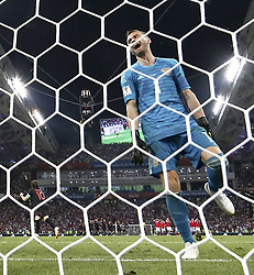 SOCHI, July 7, 2018  Goalkeeper Igor Akinfeev (R) of Russia reacts after failing to save a penalty from Croatia's Luka Modric (L) during the penalty shootout of the 2018 FIFA World Cup quarter-final match between Russia and Croatia in Sochi, Russia, July 7, 2018. Croatia won 6-5 (4-3 in penalty shootout) and advanced to the semi-finals. (Credit Image: © Cao Can/Xinhua via ZUMA Wire)