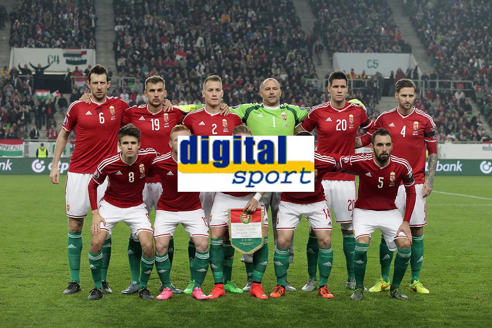 Fotball<br /> Ungarn v Norge<br /> 15.11.2015<br /> Foto: Gepa/Digitalsport<br /> NORWAY ONLY<br /> <br /> UEFA European Championship 2016, European Qualifiers, Play Offs, Hungary vs Norway. Image shows the team of HUN: Adam Nagy, Laszlo Kleinheisler, Balazs Dzsudzsak, Gergo Lovrencsics and Attila Fiola (HUN/ back row from left); Akos Elek, Tamas Priskin, Adam Lang, Gabor Kiraly, Richard Guzmics and Tamas Kadar (HUN/ front row from left).<br /> Lagbilde Ungarn