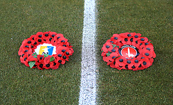 Poppy wreaths on the pitch prior to kick-off