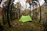 USA, New Hampshire - Autumn backpacking trip through the foliage along the Thoreau Trail in the Pemigawasset Wilderness area of the White Mountains.